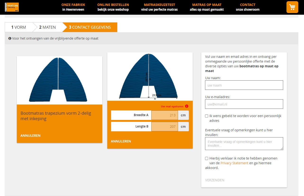 screenshot offerte aanvragen voor bootmatrassen en bootkussens